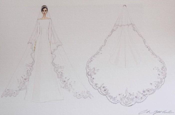 Эскиз свадебного платья Меган Маркл