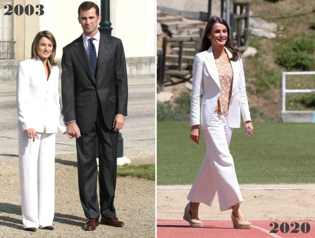 Королева Испании в белом костюме