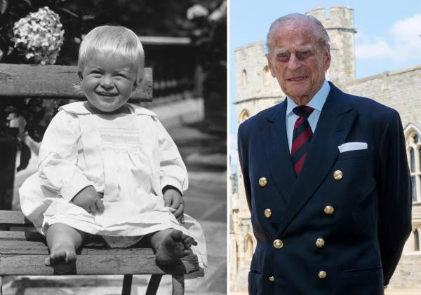 Принц Филипп в детстве и в старости